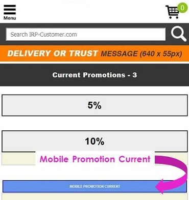 Screen capture showing the location of the Mobile Promotion Current banner on IRP websites.