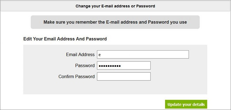 Change Email/Password