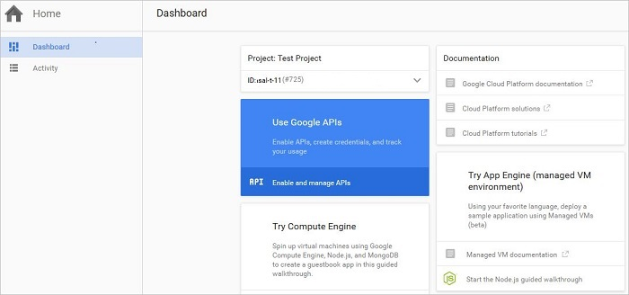 Google Developers Console Project Dashboard