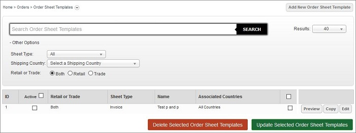 Order Sheet Templates screen in IRP Admin
