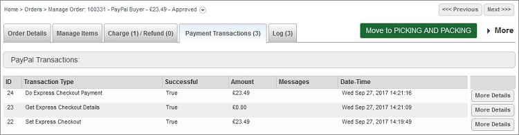 PayPal Payment Transactions Tab