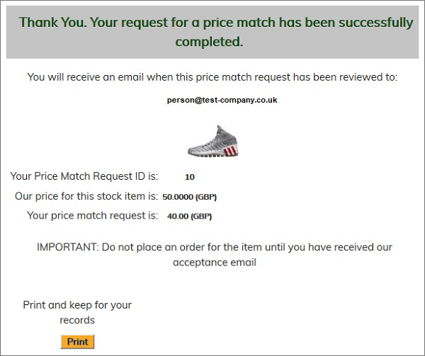 Price Match confirmation