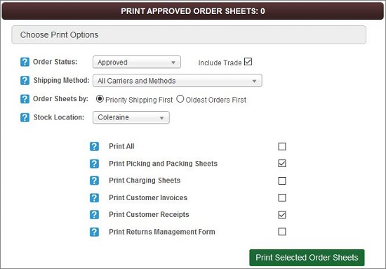 Print Approved Order Sheets