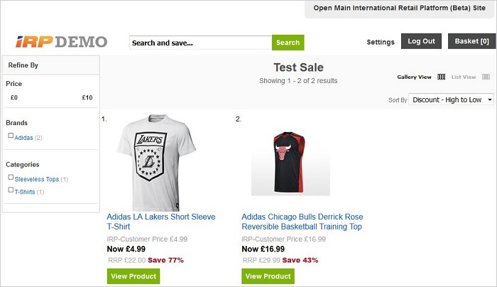 Private Sale search features on the front end