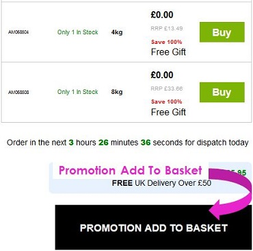 Screen capture showing the location of the Promotion Add To Basket banner on IRP websites.