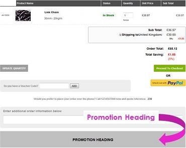 Screen capture showing the location of the Promotion Heading banner on IRP websites.