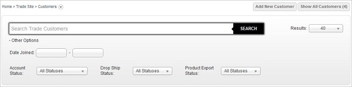IRP Trade Customers screen showing search options
