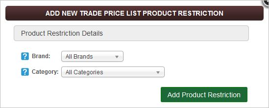 IRP Trade Price Lists Product Restrictions screen