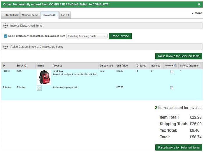 IRP Trade Order Raise Invoice tab