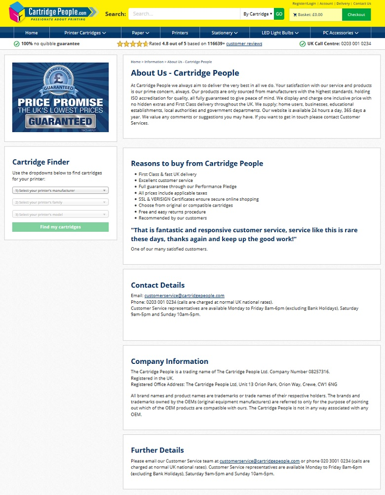 Cartridge People About Us page