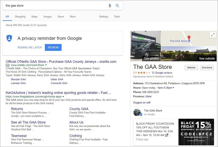 Example Google Map Listing