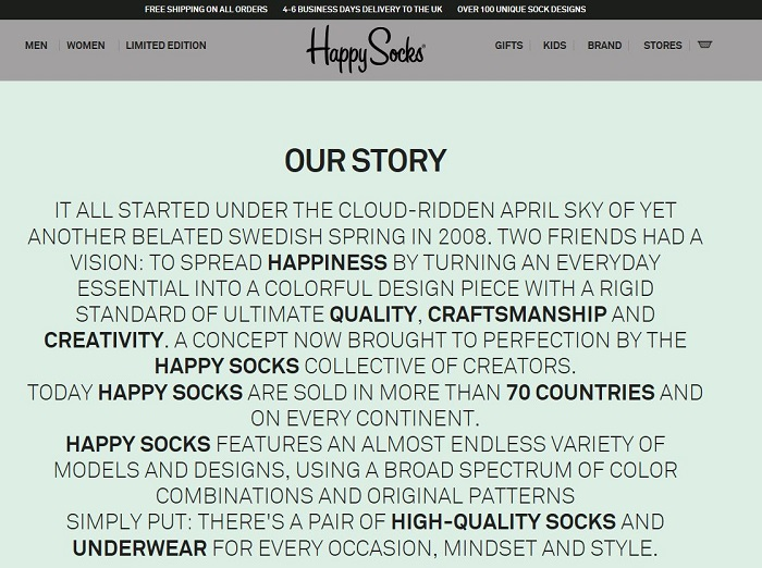 Happy Socks About Us page