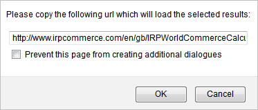 IRP Ecommerce Calculator saved calculation URL dialog box
