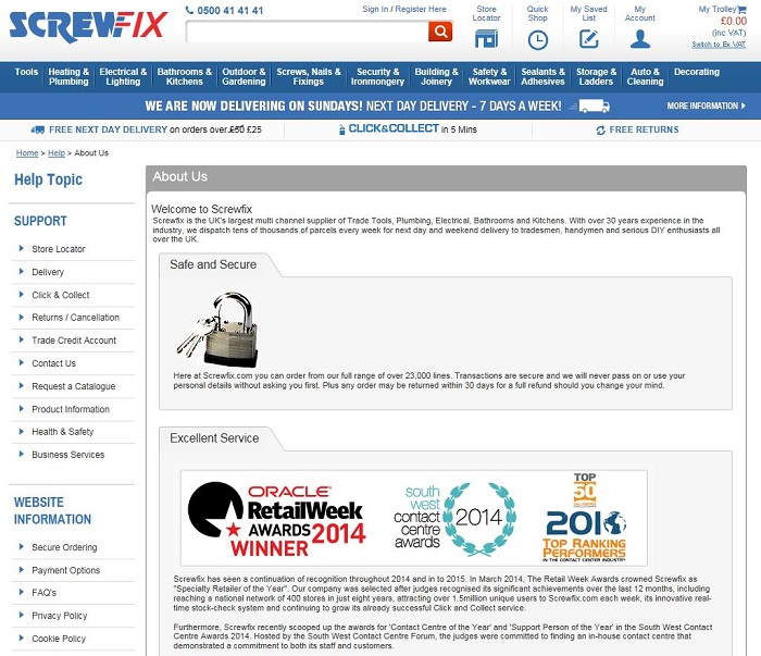 Screwfix About Us page
