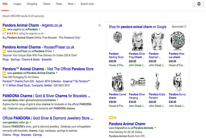 Search engine results showing PPC ads