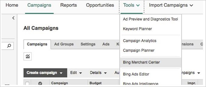 Tools menu in Bing Ads